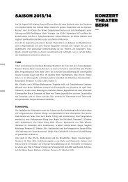 Medienmitteilung Saison 2013/14_kurz - Konzert Theater Bern