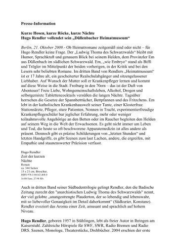Presse-Information Kurze Hosen, kurze Röcke, kurze Nächte Hugo ...
