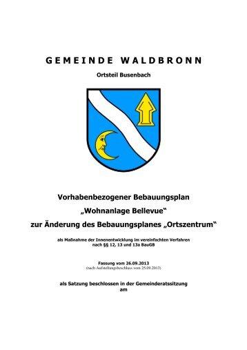 Vorhabenbezogner Bebauungsplan Bellevue - Waldbronn