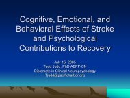 Cognitive, Emotional, and Behavioral Effects of Stroke and ...
