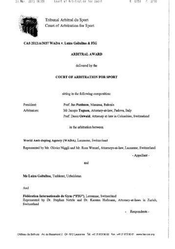 CAS 2012/A/3037, WADA v. Luiza Galiulina & FIG - World Anti ...