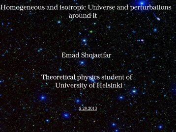 FRW Universe and perturbations around it Emad Shojaeifar ...