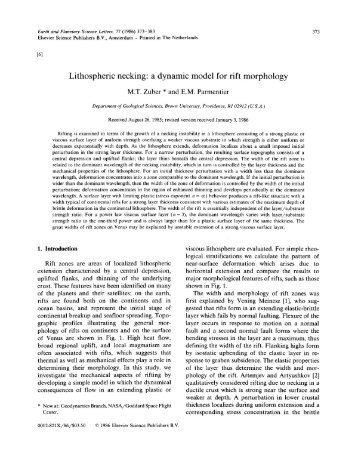 Lithospheric necking: a dynamic model for rift morphology