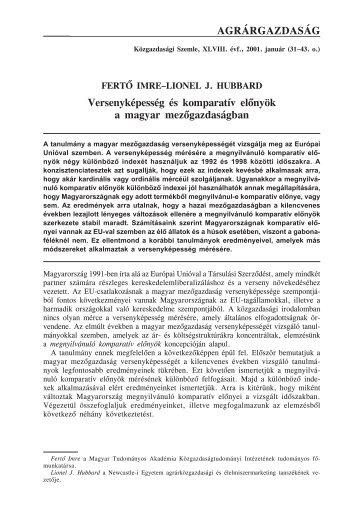 Versenyképesség és komparitív előnyök a magyar ... - EPA