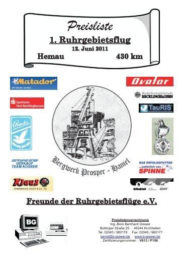 1. Ruhrgebietsflug Hemau 430 km 12. Juni 2011 ... - Ruhrgebietsflüge