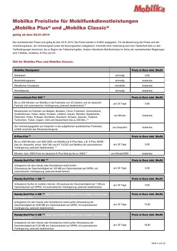 MOBILKA Preisliste (PDF) - Mobilka.de