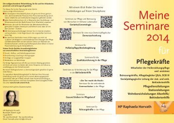 Meine Seminare 2014 - HP Raphaela Horvath