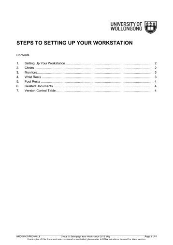 STEPS TO SETTING UP YOUR WORKSTATION - Staff