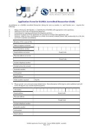Application Form for SAMRA Accredited Researcher (SAR)