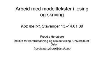 Arbeid med modelltekster i lesing og skriving (pdf ... - Lesesenteret