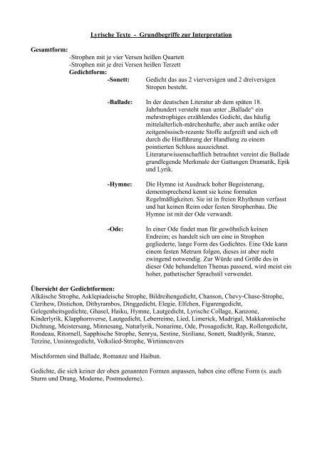 Lyrische Texte Grundbegriffe Zur Interpretation Gesamtform