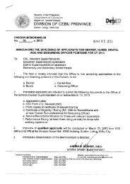 Memo No. 133, S. 2013 - DepEd Cebu Province