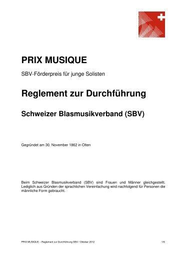 PRIX MUSIQUE - Schweizer Blasmusikverband