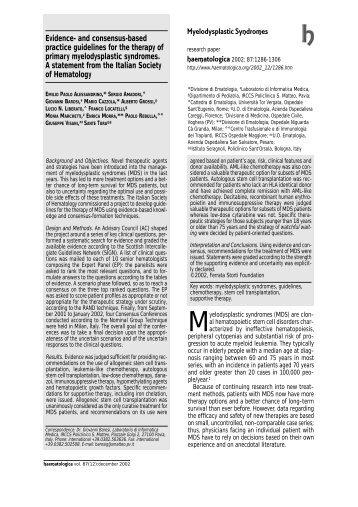 Myelodysplastic Syndromes(2002) - siesonline