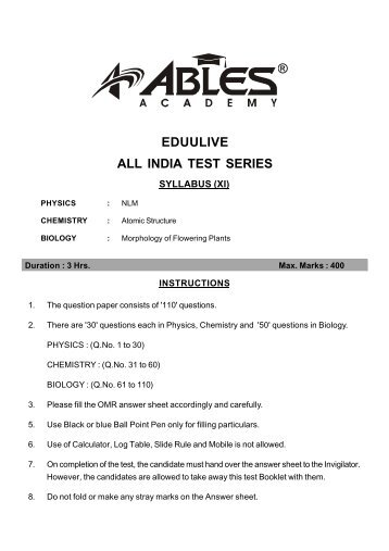 ALL INDIA TEST SERIES EDUULIVE - Newlook Central School