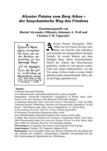 Altvater Paisios vom Berg Athos –– der ... - prophet-elias.de
