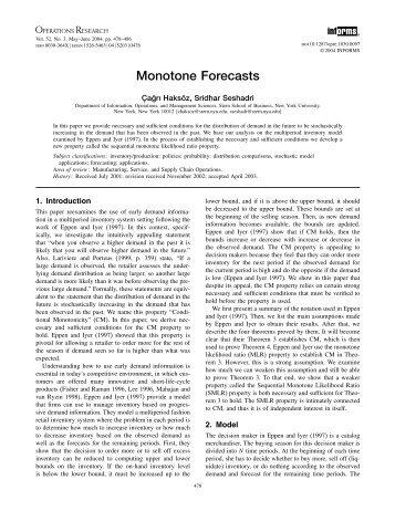 Monotone Forecasts - CiteSeerX
