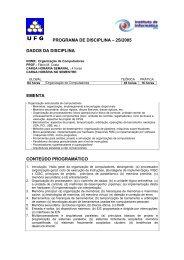 Organização de Computadores: Programa - UFG