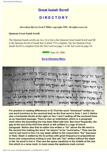 Great Isaiah Scroll Directory - documenta-catholica.eu