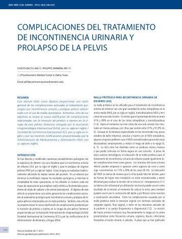 complicaciones del tratamiento de incontinencia urinaria y prolapso ...