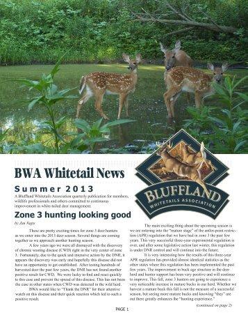 Summer 2013 Newsletter - Bluffland Whitetails Association