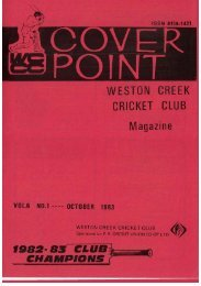 WESTON CREEK CRICKET CLUB Magazine f982- S3 CLUB