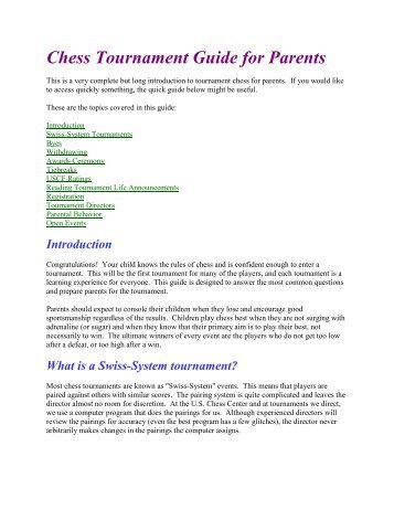 Chess Tournament Guide for Parents - US Chess Center