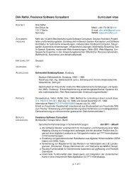 Dirk Raffel, Freelance Software Consultant Curriculum vitae