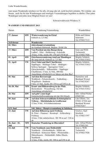 Der Wanderplan 2013 - Schwarzwaldverein-Winden