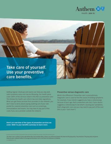 Take care of yourself. Use your preventive care ... - Williams County