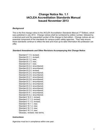 Change Notices - IACLEA