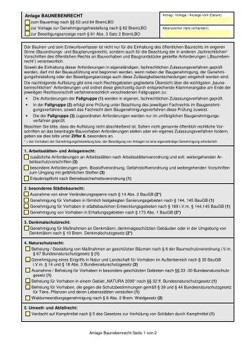 Anlage Baunebenrecht - Bauamt Bremen-Nord - Bremen