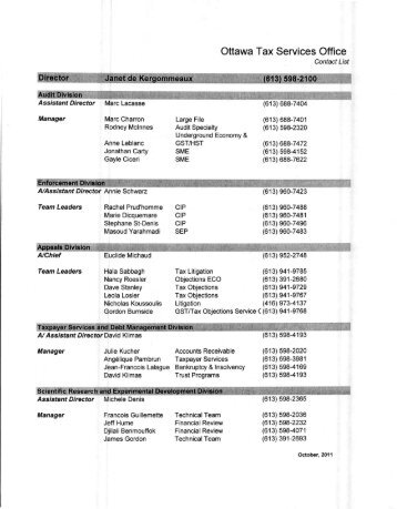 Tax Services Office Contact List