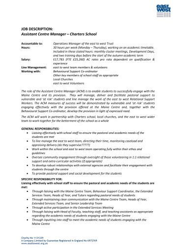 Job Description And Person Specification: Library Manager