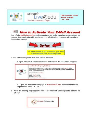 How to Activate Your E-Mail Account - Hinds Community College