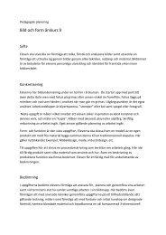 Pedagogisk planering i bild och form - Kristianstad