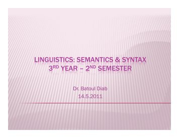 semantics & syntax 3rd year – 2nd semester 3rd year – 2nd semester