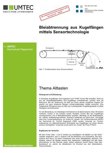 Bleiabtrennung aus Kugelfängen mittels Sensortechnologie ... - umtec