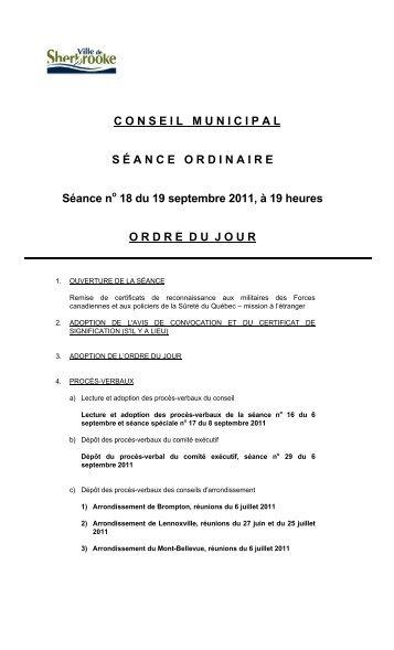 19 septembre - séance ordinaire (PDF - 58 Ko) - Ville de Sherbrooke