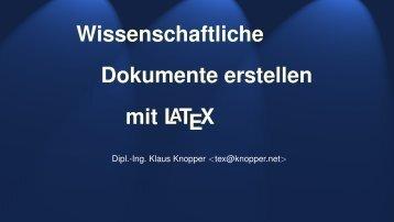 Wissenschaftliche Dokumentenerstellung mit LaTeX - Knopper.Net ...