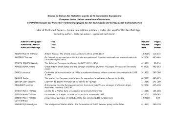 Publications du Groupe de liaison des historiens - Index par auteur
