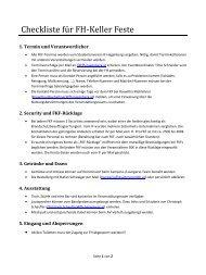 Checkliste für FH-Keller Feste - Studentenverein Hagenberg