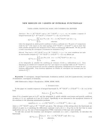 new results on γ-limits of integral functionals - Calculus of Variations ...