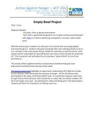 Empty Bowls Project - Action Against Hunger