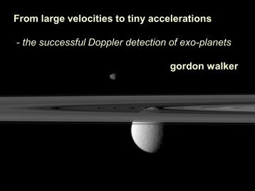 From large velocities to tiny accelerations - the successful Doppler ...