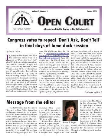 Open Court, Winter 2011 - Pennsylvania Bar Association