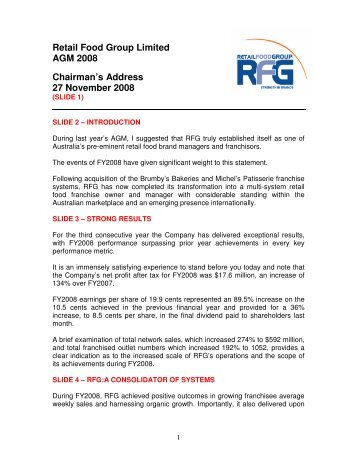 Chairmans Address to AGM 2008 - Retail Food Group