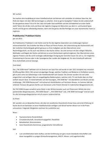 Stelleninserat Praktikant Küche 19.03.13