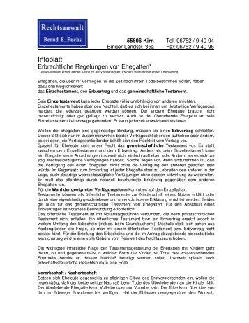 Infoblatt Rechtsanwalt Bernd Fuchs