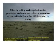 Alberta policy and regulations for grassland reclamation criteria ...